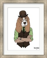 Basset Hound In Retro Style Fine Art Print