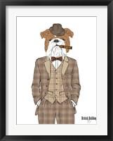 British Bulldog In Tweed Suit Fine Art Print