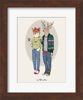 Fox Girl And Deer Boy Hipsters Fine Art Print