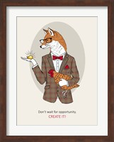 Fox Man In Pin Suit Fine Art Print