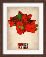 Munich Watercolor Map Fine Art Print