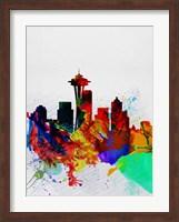Seattle Watercolor Skyline 2 Fine Art Print