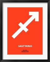 Sagittarius Zodiac Sign White on Orange Fine Art Print
