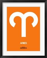 Aries Zodiac Sign White on Orange Fine Art Print