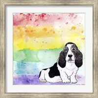 Rainbow Basset Hound Fine Art Print