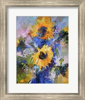 Sunflowers In Blue Vase Fine Art Print