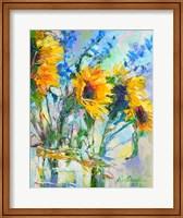 Sunflowers In Glass Bottles Fine Art Print