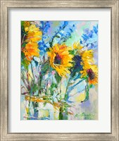 Sunflowers In Glass Bottles Fine Art Print