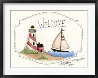 Lighthouse And Sailboat Fine Art Print
