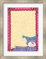 Bright Snowman W/Pink Border Fine Art Print