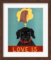 Love Is Dog Girl Black Fine Art Print