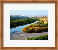 High angle view of Rio Grande flood plain, Big Bend National Park, Texas, USA. Fine Art Print