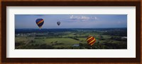 Hot air balloons floating in the sky, Illinois River, Tahlequah, Oklahoma, USA Fine Art Print