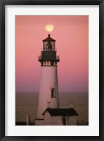 Lighthouse Against Pink and Red Sunset Fine Art Print