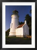 White Lighthouse against Mountain Range Fine Art Print