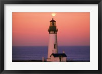 Tall Lighttower Against the Ocean Fine Art Print
