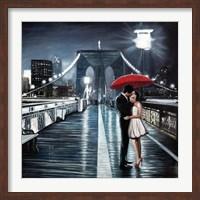 Kissing on Brooklyn Bridge Fine Art Print