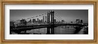 Manhattan Bridge and Skyline BW Fine Art Print
