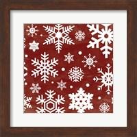 Red Snow Flakes Fine Art Print