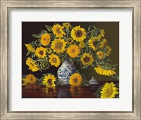 Sunflowers in Blue and White Vase Fine Art Print