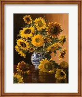 Sunflowers in a Blue Willow Vase Fine Art Print