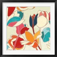 Cloisonne Tulipe II Turquoise and Indigo Vignette Fine Art Print
