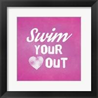 Swim Your Heart Out - Pink Vintage Fine Art Print