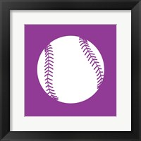White Softball on Violet Fine Art Print