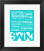 Swimming Word Cloud - White Fine Art Print