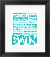 Swimming Word Cloud - Teal Fine Art Print