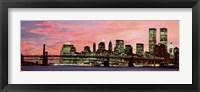 Manhattan at Night - Pink Sky Fine Art Print