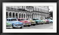 Cars Parked in Line, Havana, Cuba Fine Art Print