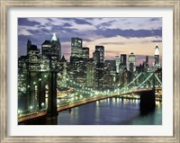 Brookyn Bridge and Downtown skyline, NYC Fine Art Print