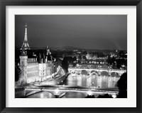 Paris and Seine River at Night Fine Art Print