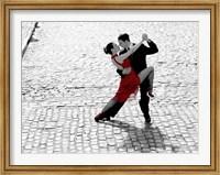 Couple Dancing Tango on Cobblestone Road Fine Art Print