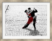 Couple Dancing Tango on Cobblestone Road Fine Art Print