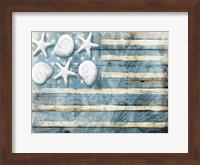 Water Blue American Flag Fine Art Print
