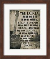 Zephaniah 3:17 The Lord Your God (Guitar Sepia) Fine Art Print