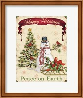 Happy Holidays - Snowman Fine Art Print