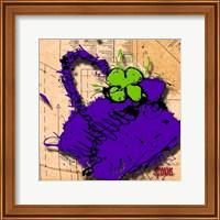 Flower Purse Green On Purple Fine Art Print