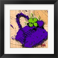 Flower Purse Green On Purple Fine Art Print
