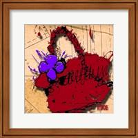 Flower Purse Purple On Red Fine Art Print