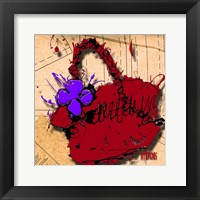 Flower Purse Purple On Red Fine Art Print