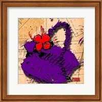 Flower Purse Red On Purple Fine Art Print
