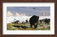 Woolly Mammoths and Woolly Rhinos in a Prehistoric Landscape Fine Art Print