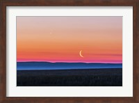 Moon and Venus rising over the flat prairie horizon of Alberta, Canada Fine Art Print