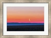 Moon and Venus rising over the flat prairie horizon of Alberta, Canada Fine Art Print