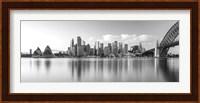 Sydney Harbour Bridge and skylines at dusk, Sydney, New South Wales, Australia Fine Art Print