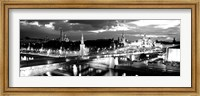 City lit up at night, Red Square, Kremlin, Moscow, Russia BW Fine Art Print