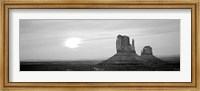 East Mitten and West Mitten buttes at sunset, Monument Valley, Utah BW Fine Art Print